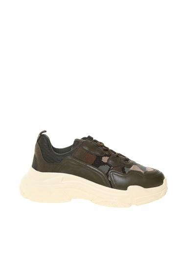 Limon Company Düz Topuklu Suni Deri Kamuflaj Kadın Ayakkabı Haki